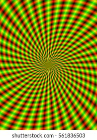 Spiral Rays in Green and Red / A digital fractal image with an optically challenging spiral ray design in red and green.