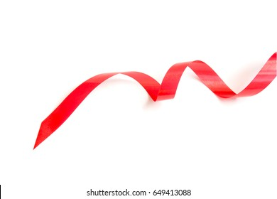 the spiral red ribbon isolated on white background.