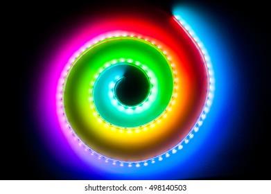 Spiral RGB LED Light Strip Bokeh Background
