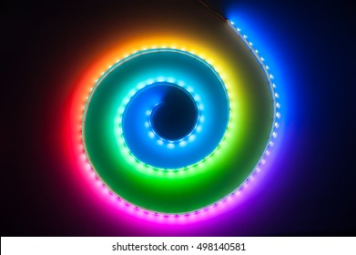 Spiral RGB LED Light Strip Bokeh Background