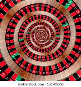 Spiral with roulette numbers symbolizing the bad luck of gambling. The ball in the zero slot.