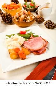 Spiral Sliced Ham on plate with Vegetables