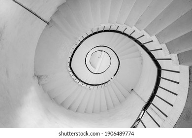 Spiral staircase in black and white. Abstract architectural detail