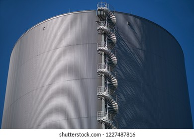 Spiral staircase from a heat storage in a cogeneration plant - detailed view