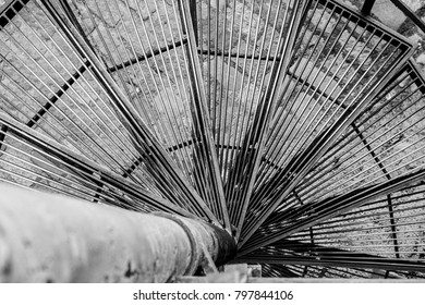 spiral staircase in monochrome