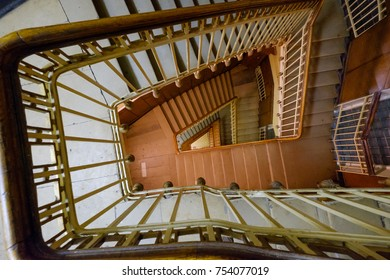 Spiral staircase on the old house