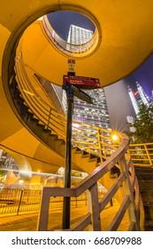 The spiral staircase on the passenger foot-bridge,Hong Kong