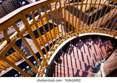 Spiral staircase on top of a church in Copenhagen, Denmark