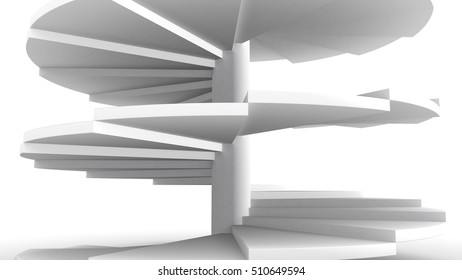 Spiral staircase on a white background, symbolic for the way up or forward (3d rendering)