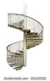 Spiral staircase on white isolate background with clipping path,Spiral staircase in steel isolated over white background