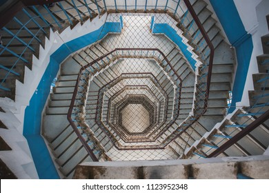 Spiral Staircase with rope netting inside the Ci En Pagoda at Sun Moon Lake, Nantou County, Taiwan