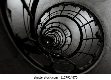 Spiral Staircase Shot in Black and White
