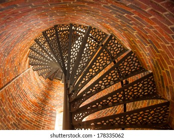 The spiral staircase that ascends to the top of the lighthouse.