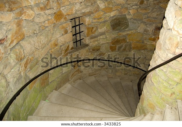 Spiral staircase in tower