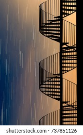 Spiral staircase under startrails
