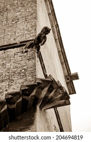 Spiral staircase without railing leading to Gargoyle.  Architectural detail of church in medieval town Gordes (Provence, France). Aged photo. Sepia.