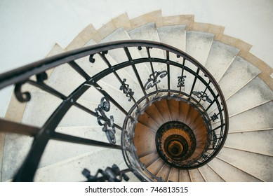 spiral stairs in old house tourist place