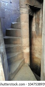 Spiral stone staircase - Dada Harir Stepwell in Asarwa area of Ahmedabad, Gujarat State, India.