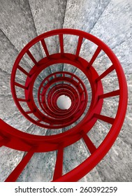 Spiral stone stairs with red painted balustrade, view from top