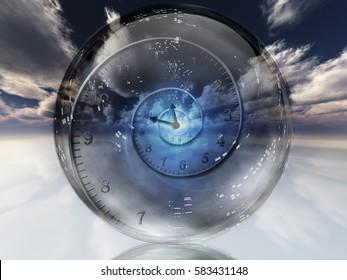 Spiral of time inside crystal ball.  3D Render