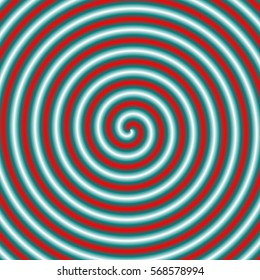 Spiral Tube in Blue and Red / An abstract fractal image with a coiled tube design in red, blue and white.