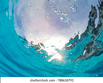 Spiral water view from underwater. Diving  into the pool, splashing water in pool, summer holiday concept. process in HDR style