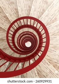 Spiral wood stairs with red painted balustrade, vertical