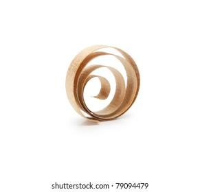 Spiral wooden shavings isolated on white.
