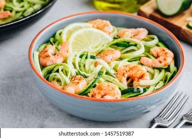 Spiralized zucchini noodles pasta with shrimps