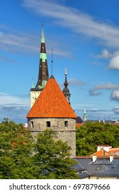 The spire of the cathedral in the city of Tallinn