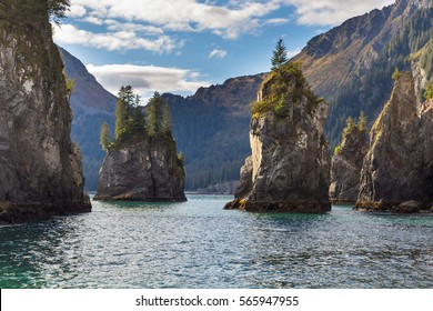 Spire Cove located within Kenai Fjords National Park. Wildlife Cruise around Resurrection Bay, Alaska, USA.