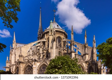 The spire and flying buttresses of the apse of the cathedral Notre-Dame destroyed in a fire in 2019, Paris, France