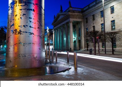 The Spire and General Post Office at night on O'Connell Street, Dublin, Ireland