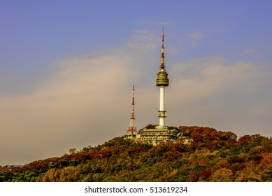 The spire of N Seoul Tower, or Namsan Tower in Seoul,South Korea