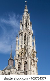 Spire of the Notre Dame Cathedral in Antwerp, Belgium.