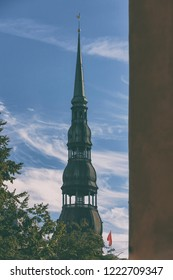 Spire with a rooster of St. Peter's Cathedral in Riga