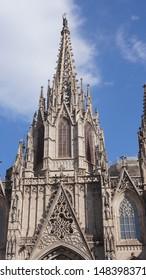 Spire of Santa Maria del Mar cathedral in Barcelona, Catalonia, Spain
