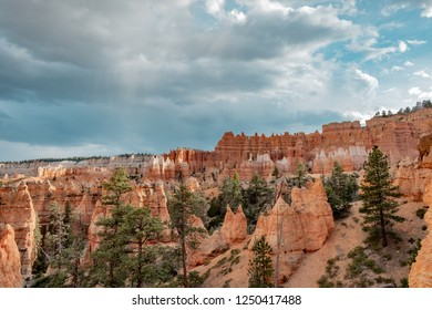 Spire shaped rock formations known as hoodoos at Bryce Canyon National Park in Utah