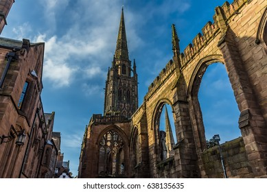 The spires and arches of the ruins of St Michael's Cathedral in Coventry, UK