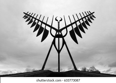 The Spirit Catcher sculpture situated on the shore of Kempenfelt Bay in Barrie, Ontario, Canada. The steel monument was created by sculptor Ron Baird. This picture was taken in April, 2017.