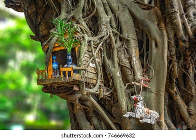 SPIRIT HOUSE AND TREE ROOTS INTERTWINED. Miniature house for guardian spirit. A dedicated structure to honor the guardians of the land that is found in the Southeast Asian countries.