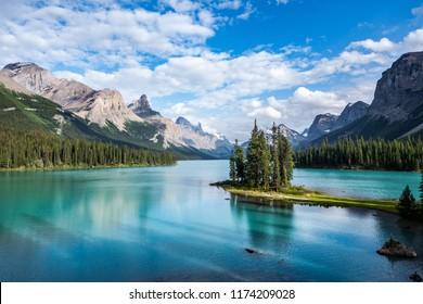 Spirit Island in Maligne Lake at sunset in Jasper National Park, Canadian Rockies, Alberta, Canada.