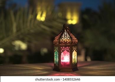 The spirit of Ramadan, a lantern decor in the heritage village area