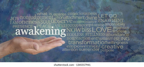 Spiritual Awakening Word Tag Cloud - male hand with the word AWAKENING floating above surrounded by a muted gold word cloud on a rustic blue background