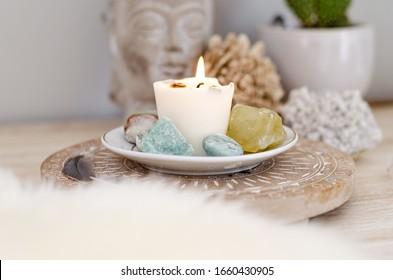 Spiritual Beige Green Desk Setup