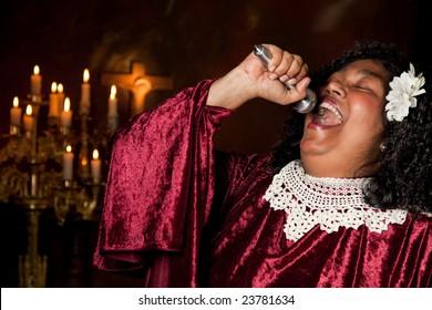 spiritual gospel singer singing a hymn