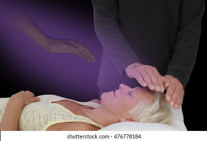 Spiritual Healing Session -  male healer channeling healing energy to supine resting female with the help of a spirit healing guide