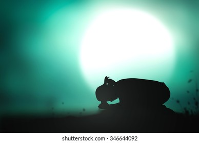 Spiritual journey concept: Silhouette depression woman pray over full moon background
