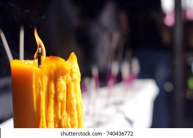 Spiritual orange candle