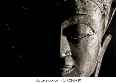 Spiritual Universe. Buddha and the night sky. Face of God and religion. Pure creation and light from darkness. Modern spirituality wrtten in the stars. Astrology and universal power.